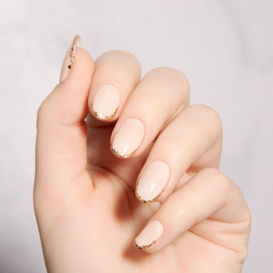 Blush Nails with subtle gold Engagement Nail Art Designs
