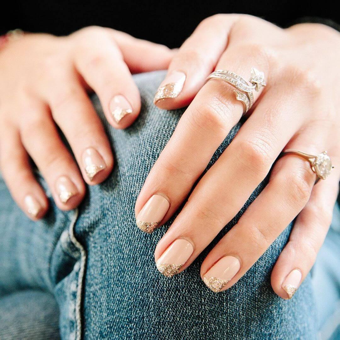 RavishingGold and Pink Engagement Nail Art Designs