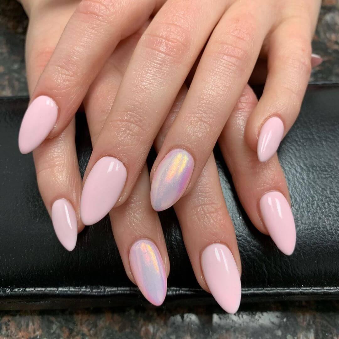 High Shine Pink Velvet Engagement Nail Art Designs