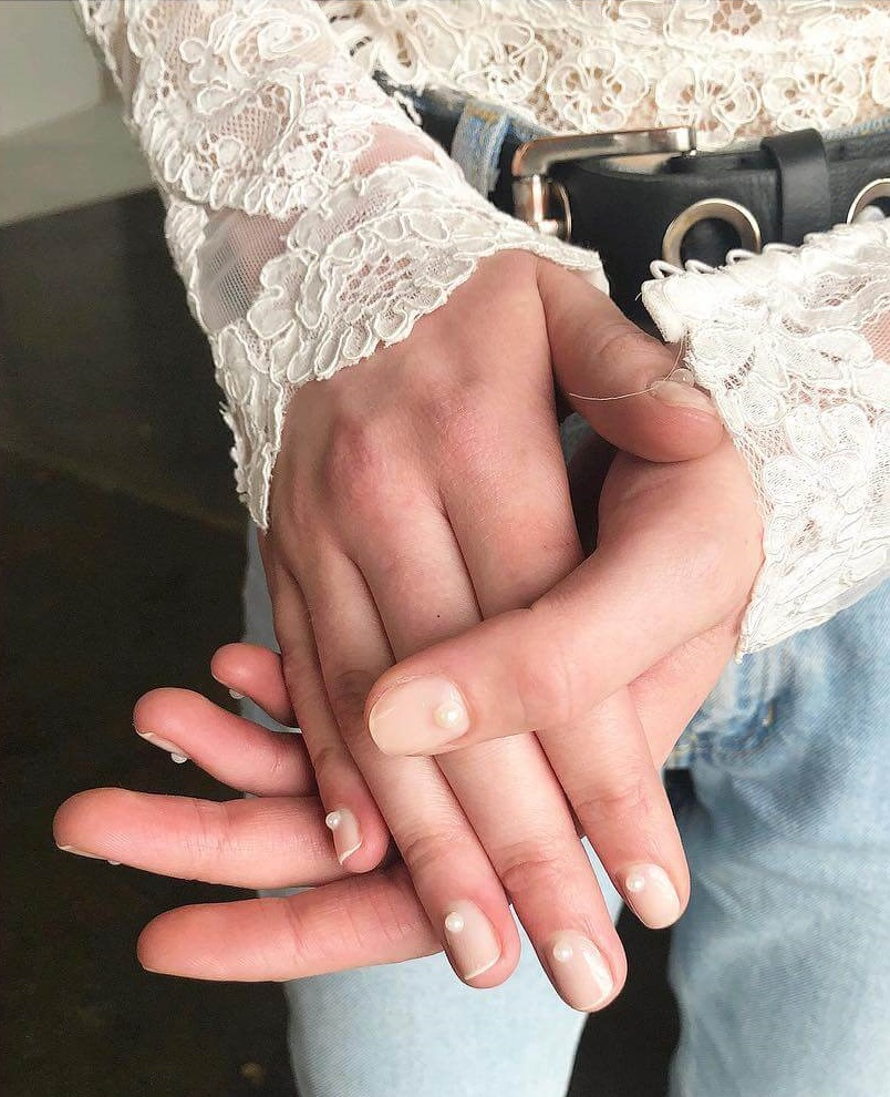 Pearly Accent Engagement Nail Art Designs