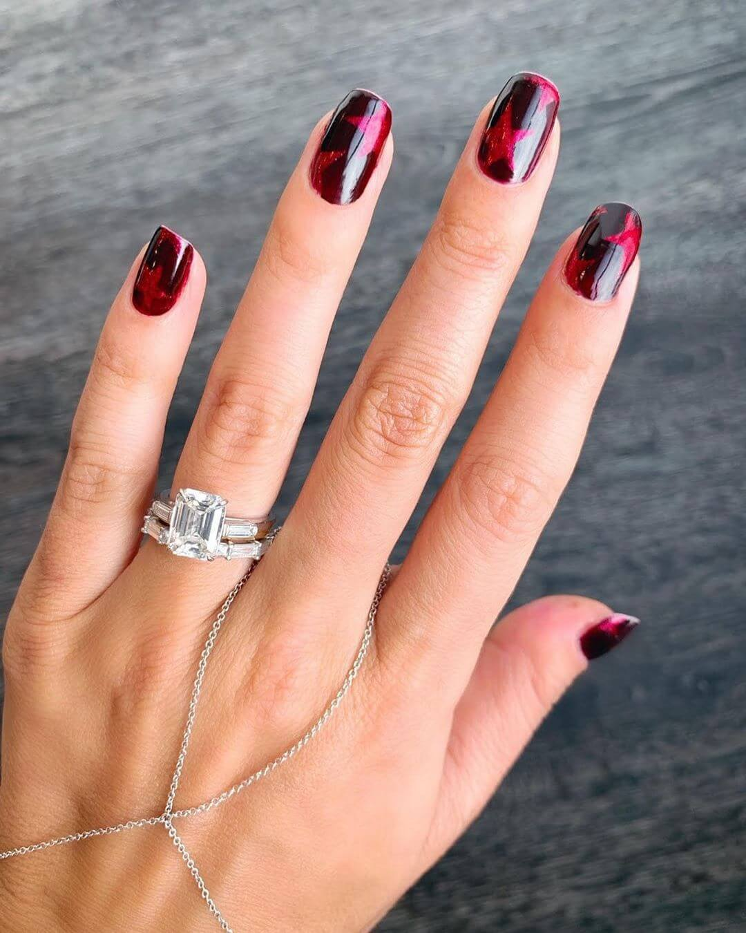 Red Wine Hue Engagement Nail Art Designs