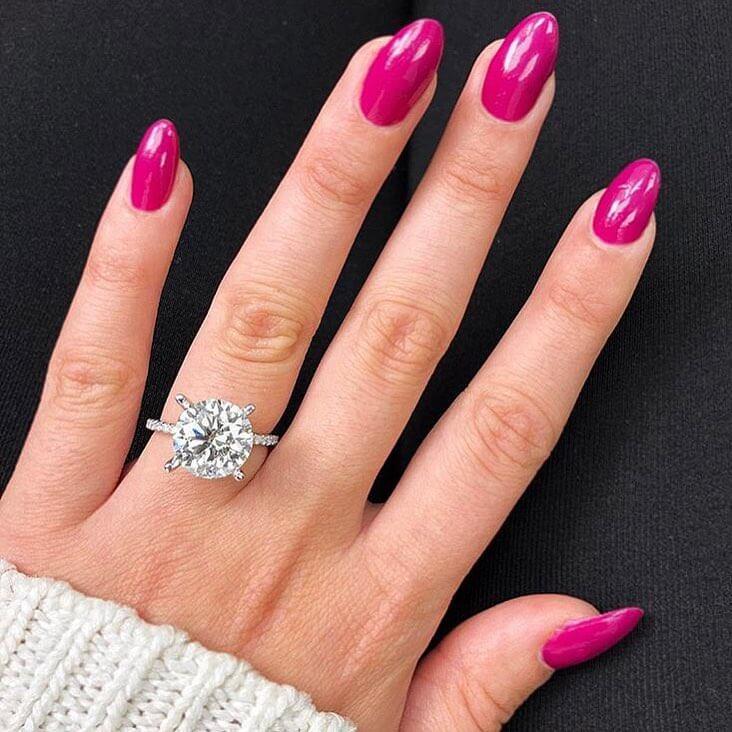 Radiant Hot Pink Engagement Nail Art Designs