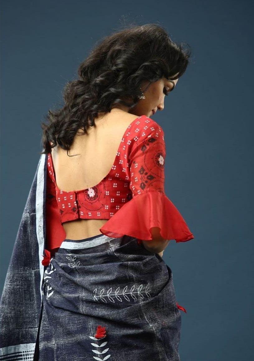 Cotton Saree Blouse With Sharara Elbow Back Neck Designs