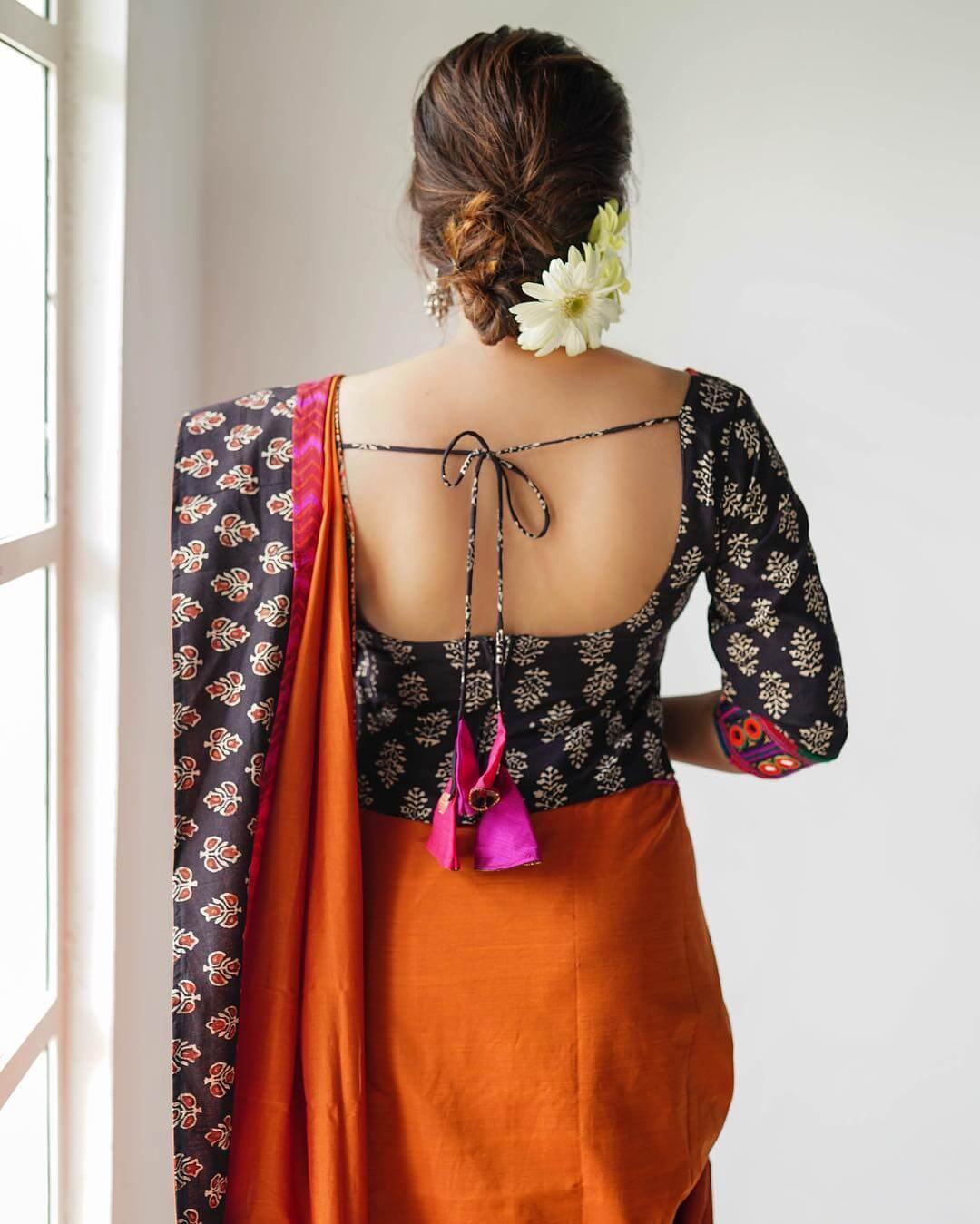 Cotton Saree Blouse With Dori Blouse Back Neck Designs