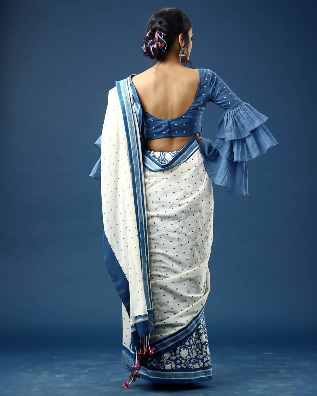 Cotton Sari Blouse With Multi Layer Sharara Elbow Design