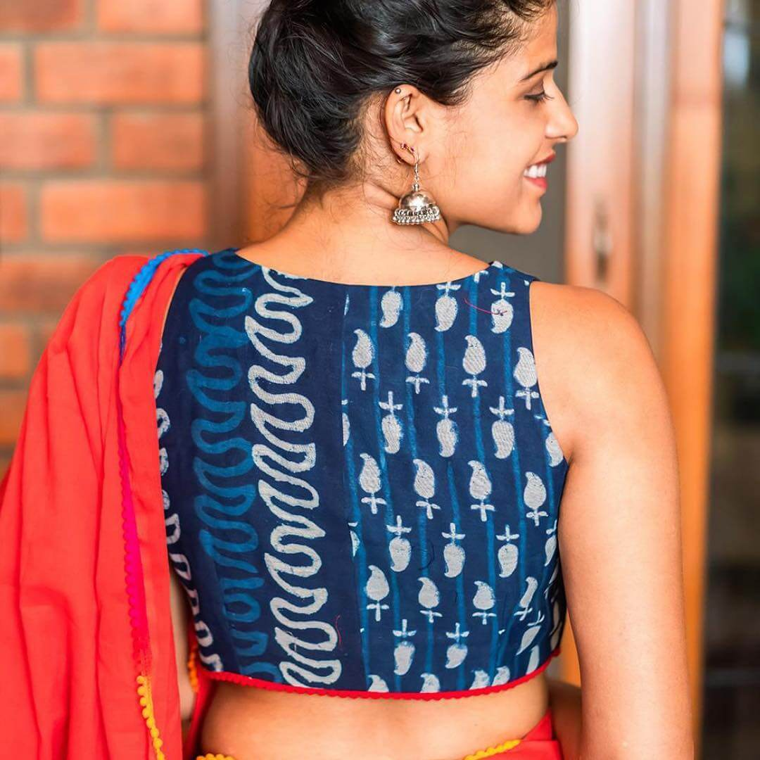 Cotton Sari Blouse With Full Back Cover Design For summers