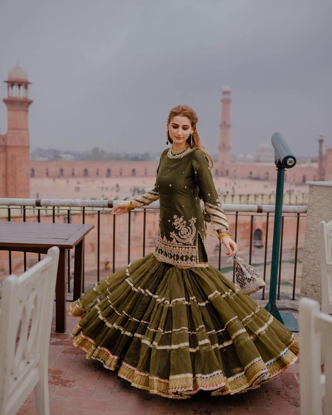 Olive Green Designer Sharara & Gharara Suits