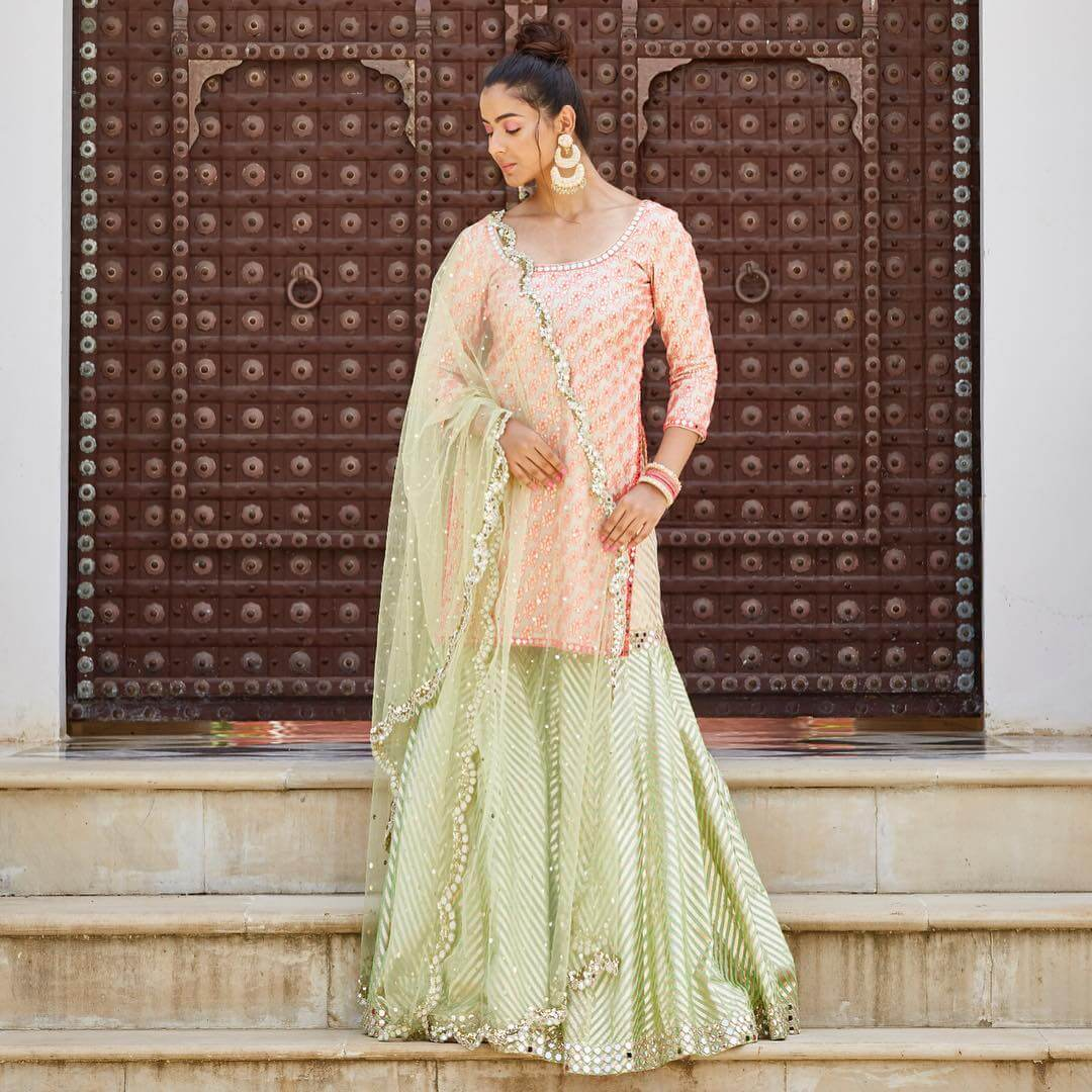 Subtle Green Designer Sharara & Gharara Suits