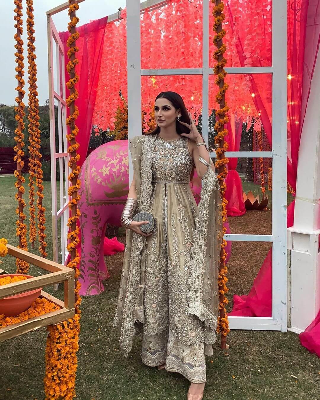 Gold and Grey Designer Sharara & Gharara Suits