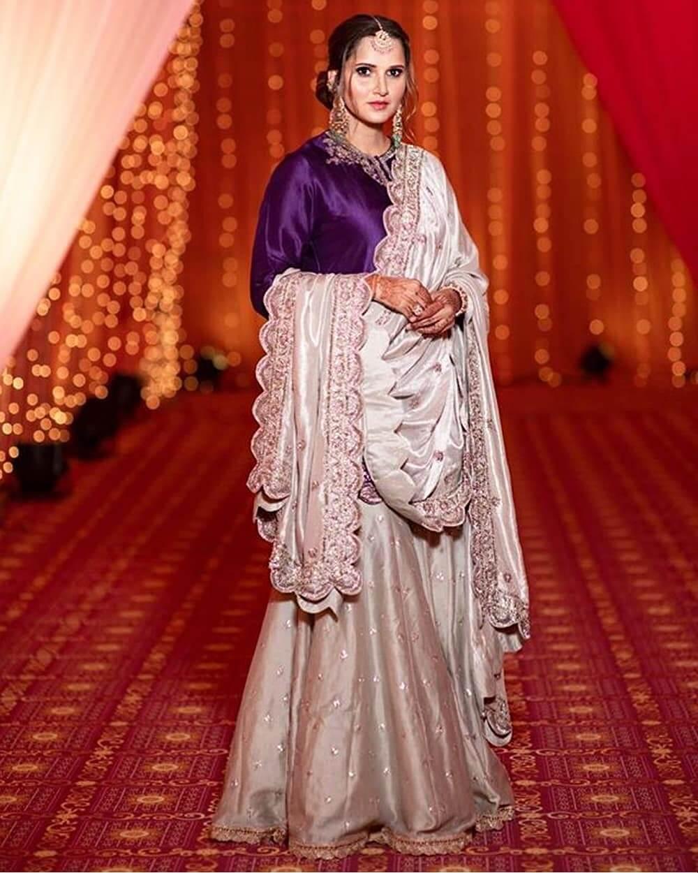 Sania Mirza Purple Designer Sharara & Gharara Suits