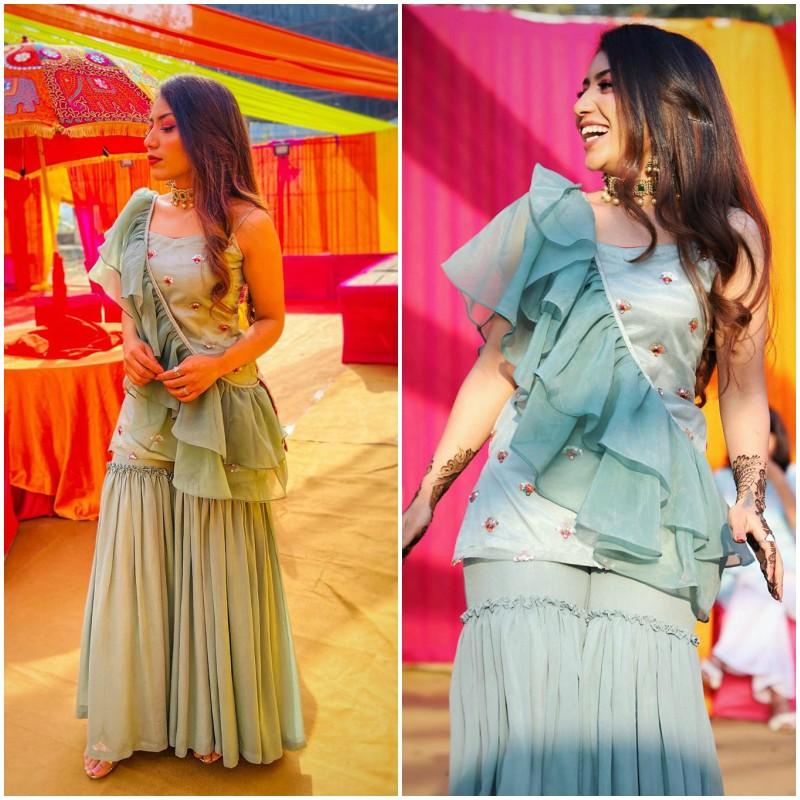 Pastel Blue Designer Sharara for any occasion