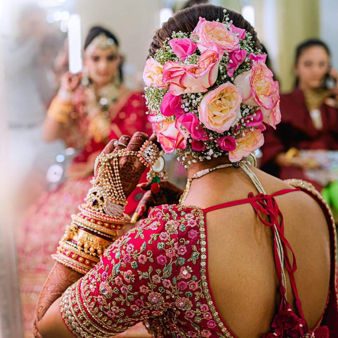 Buns And Roses Gujrati Bridal Hairstyles