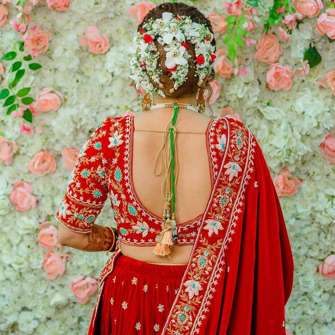 Artificial Blossoms Gujrati Bridal Hairstyles