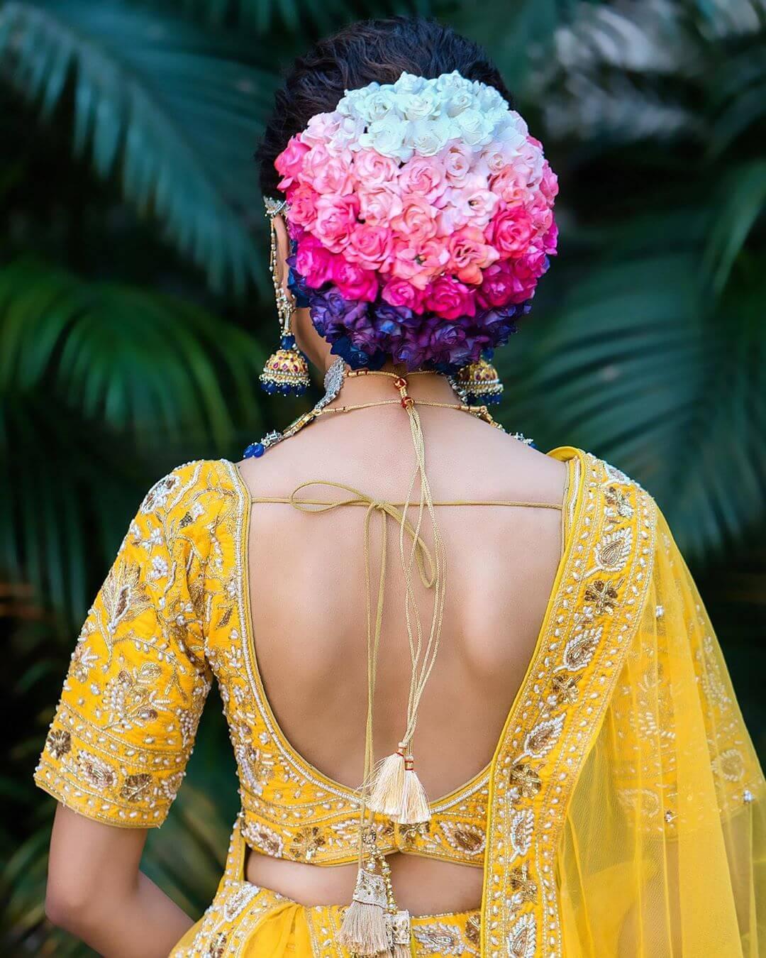 Ombre Bun Gujrati Bridal Hairstyles
