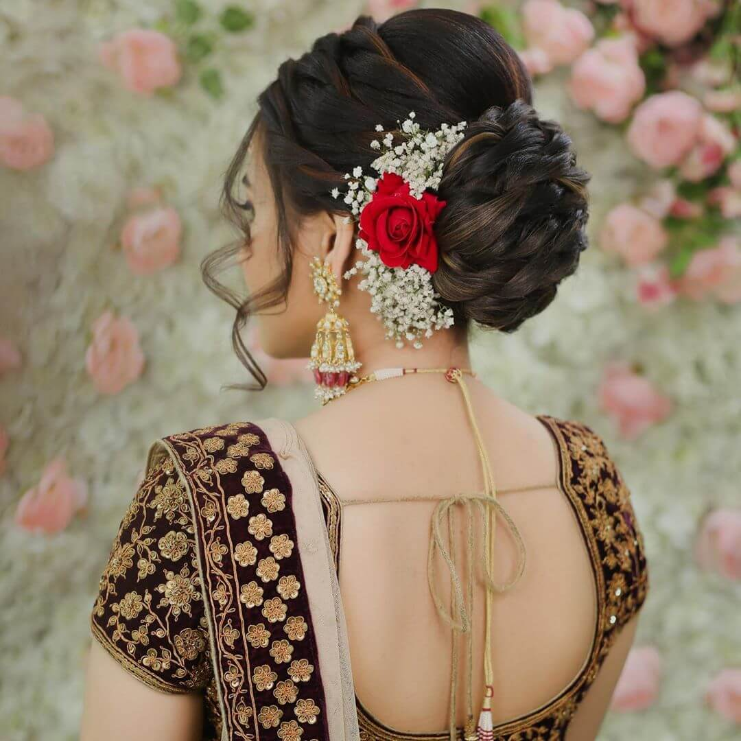 Braided Bun With Flicks Gujrati Bridal Hairstyles