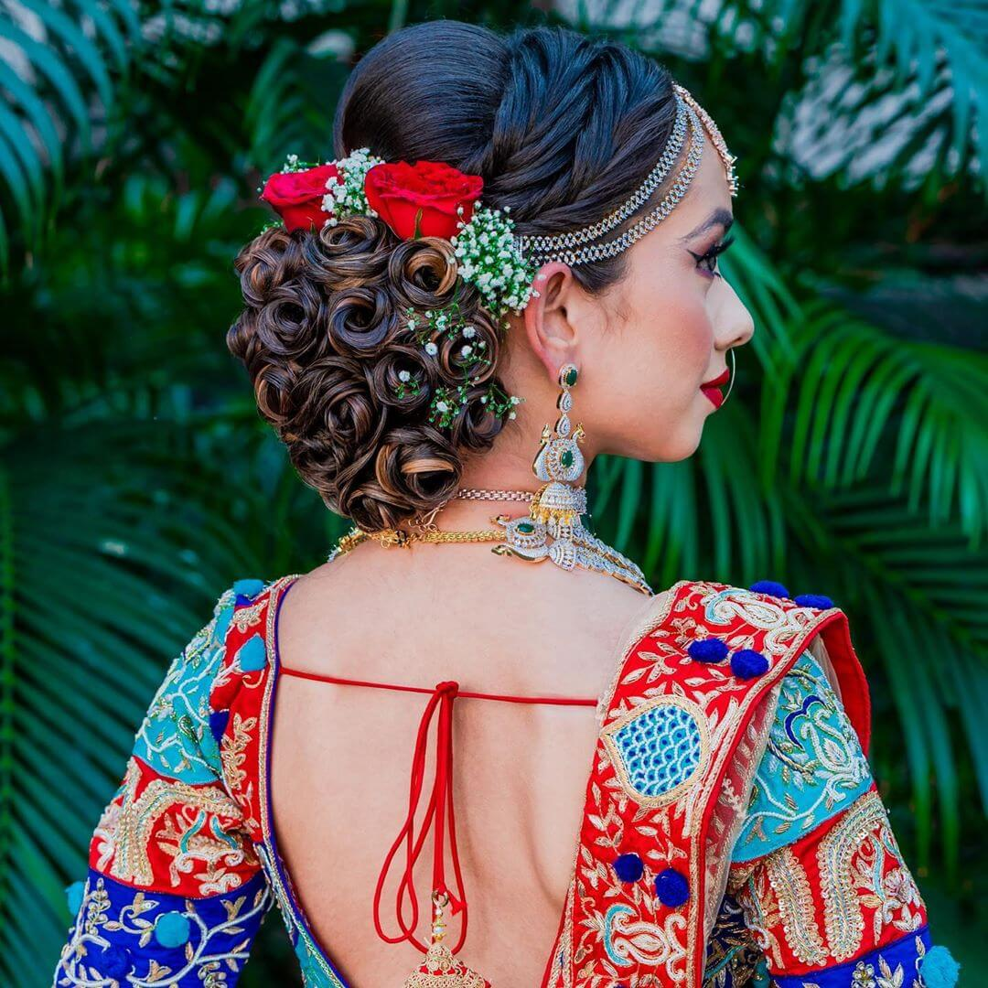 Rose Structured Bun With Sections Gujrati Bridal Hairstyle