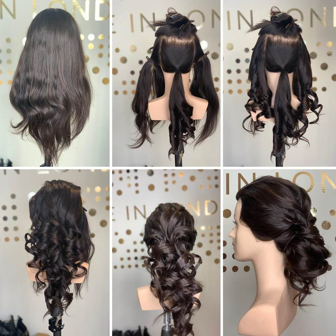 Swirly Buns Hairstyles with Gown for Indian Wedding