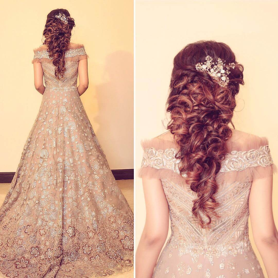 Elaborate Curls Hairstyles with Gown for Indian Wedding