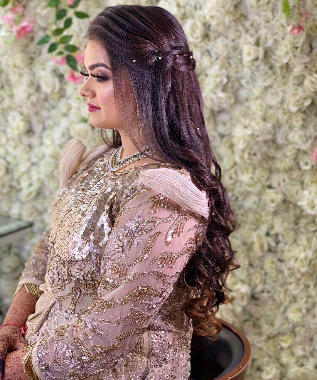 Chic Braids with Curls Hairstyles with Gown for Indian Wedding