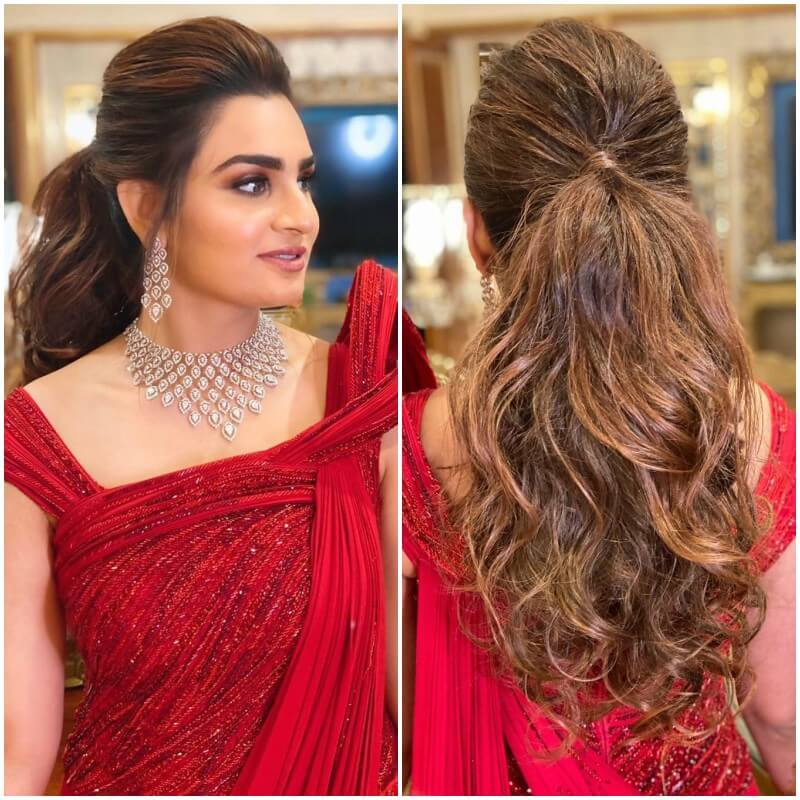 The Puffed Ponytail Hairstyles with Gown for Indian Wedding