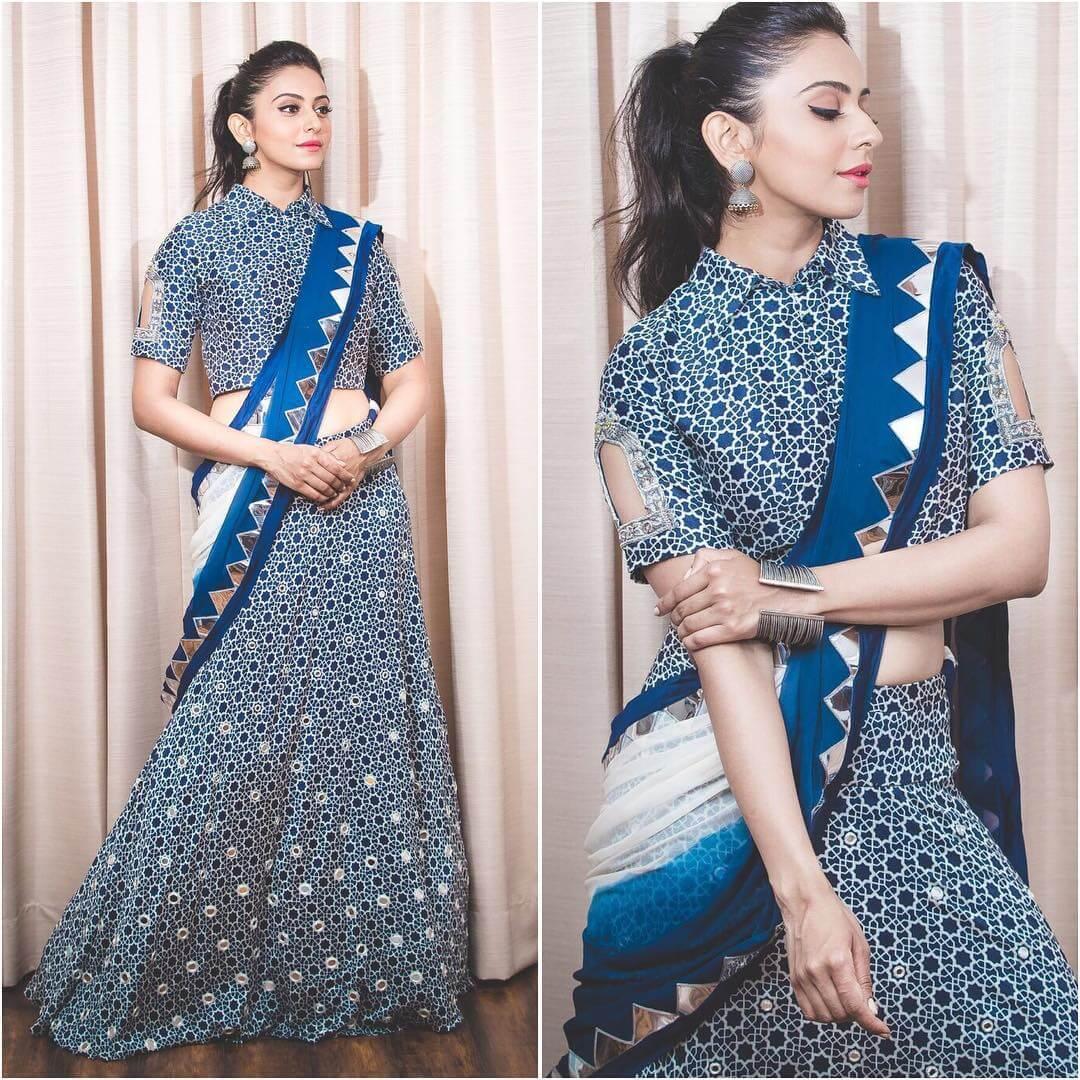 Rakul Preet Singh Lehenga Blouse Designs With Collar And Window Cut Sleeves