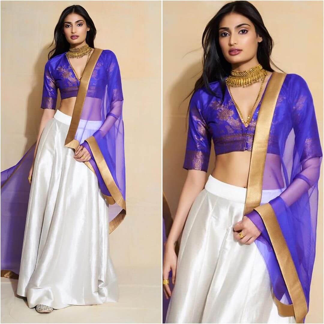 Athiya Shetty Lehenga Blouse Designs With Half Sleeves And Deep Neck For Wedding