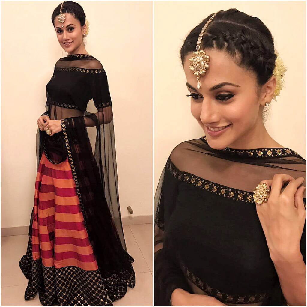 Taapsee Pannu Lehenga Blouse Designs With Vivacious Off-Shoulder For Wedding