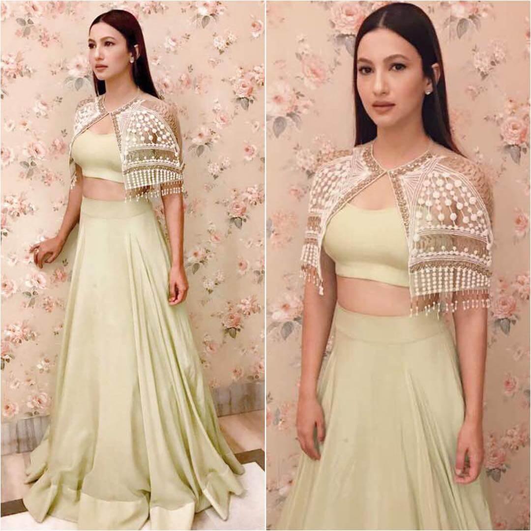 Gauahar Khan Lehenga Blouse Designs With Sassy Cape Neck Cover For Wedding