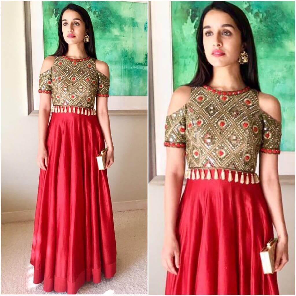 Shraddha Kapoor Lehenga Blouse Designs With Cut Sleeve For Wedding