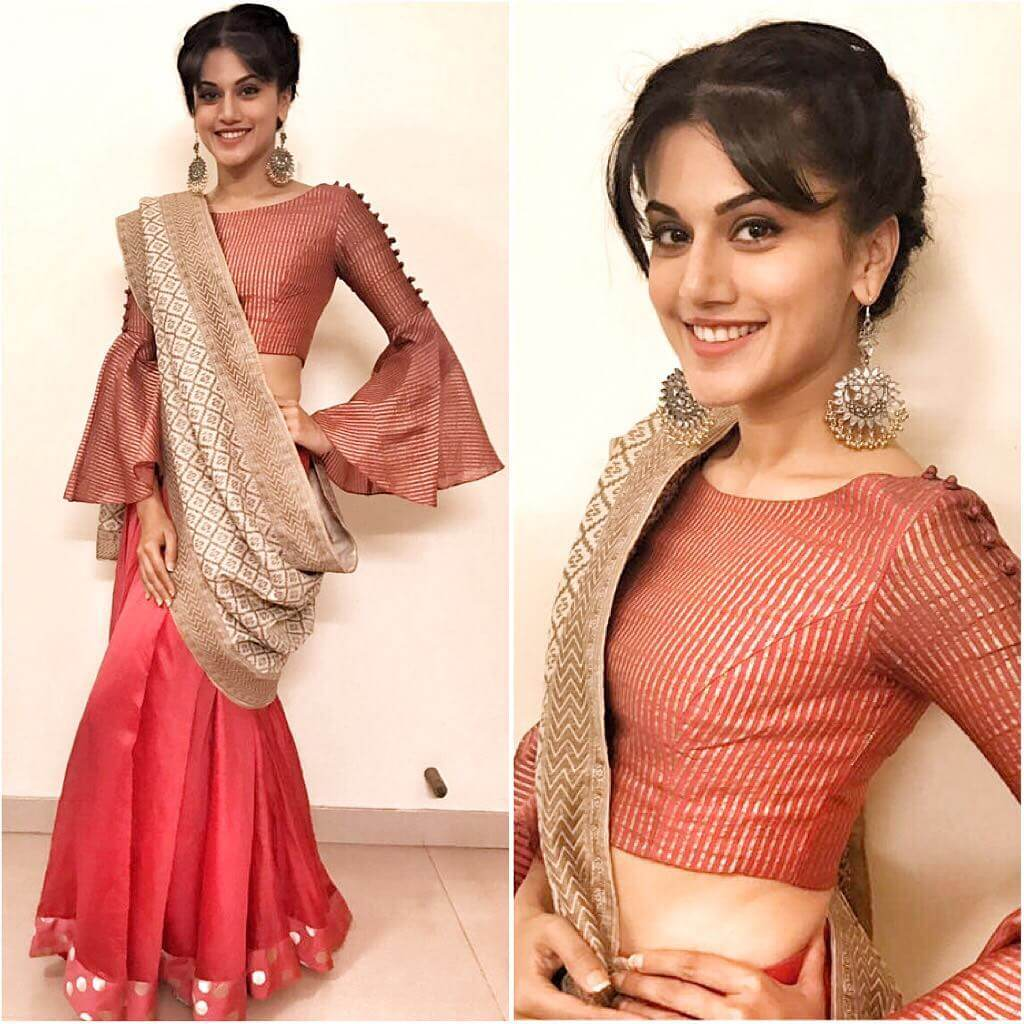 Taapsee Pannu Lehenga Blouse Designs With Sharara Sleeves For Wedding