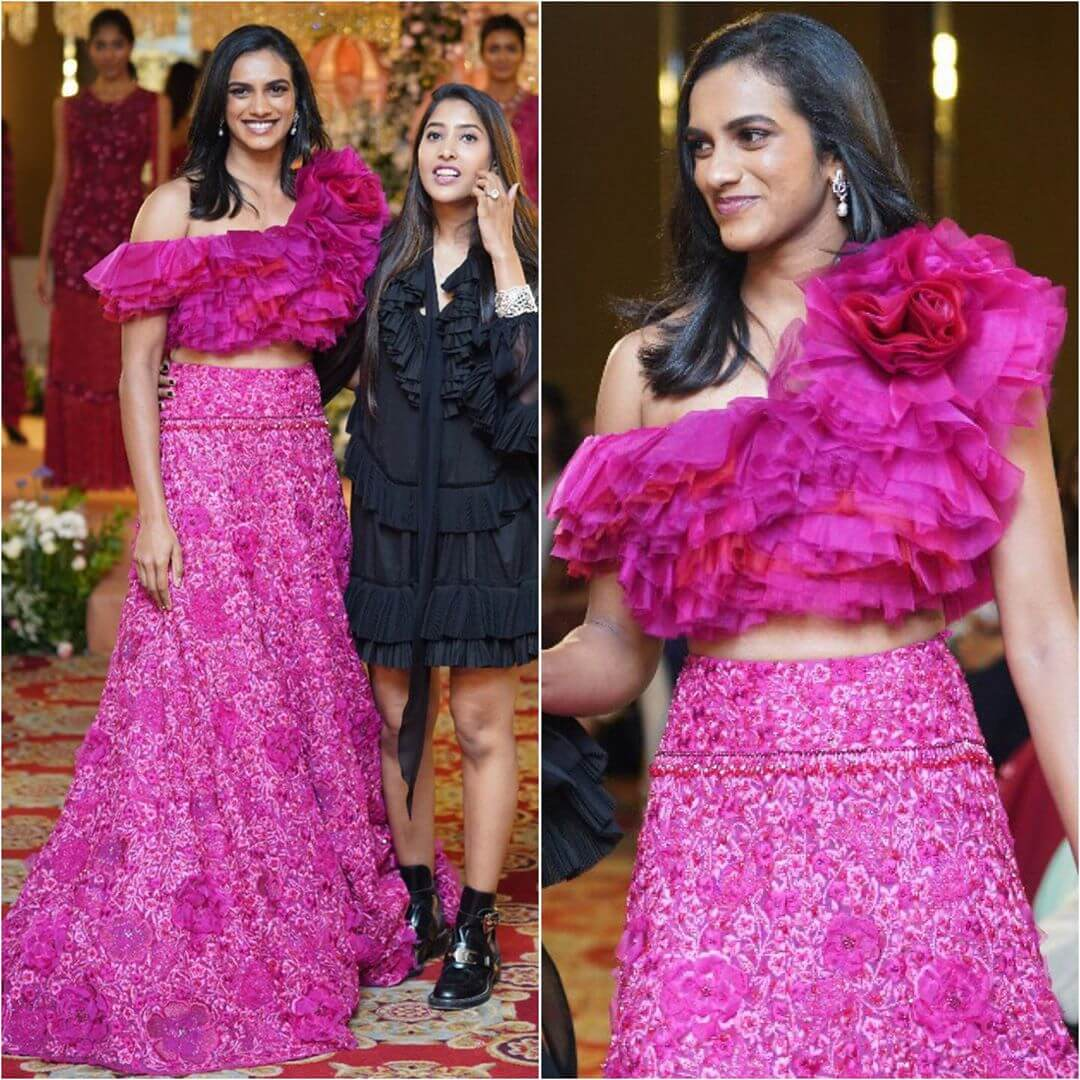 PV Sindhu Lehenga Blouse Designs With Rosy Look For Wedding