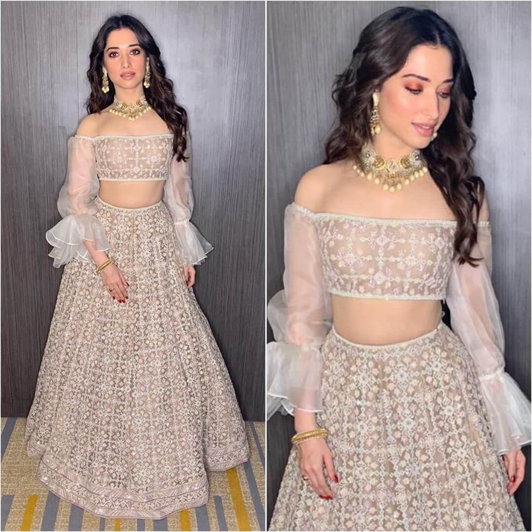 Tamannaah Bhatia Lehenga Blouse Designs With Jasmine Like Sleeves For Wedding