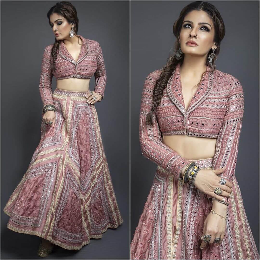 Raveena Tandon Lehenga Blouse Designs Collar For Wedding
