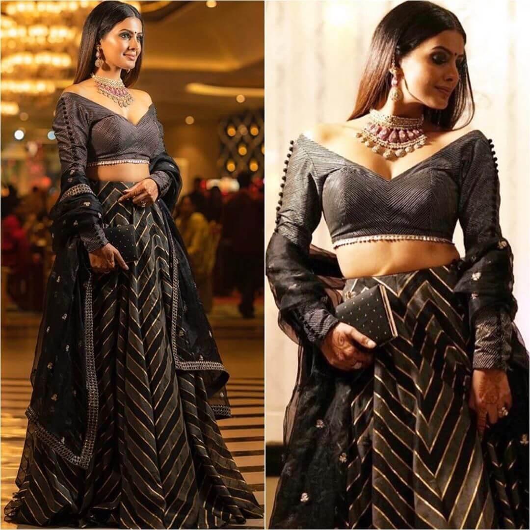Geeta Basra Lehenga Blouse Designs With Full Sleeves For Wedding