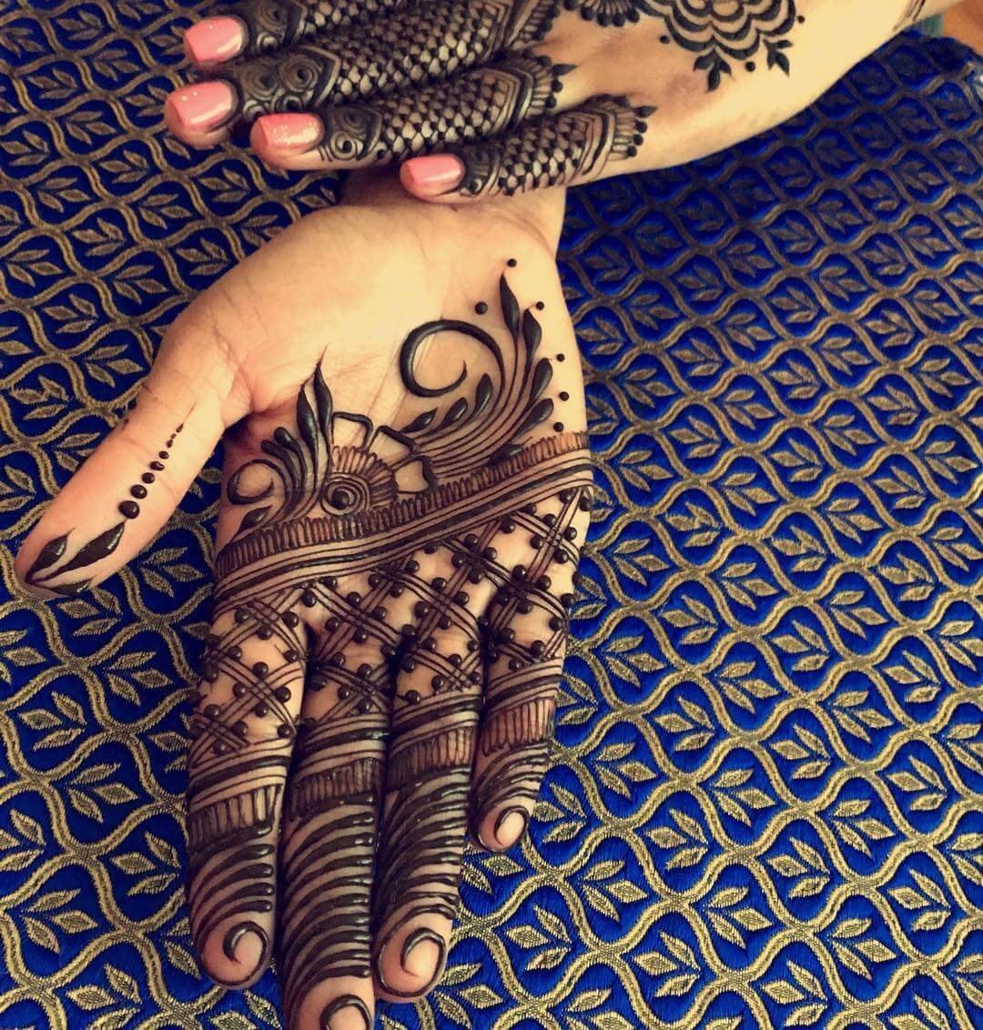 Mehndi Design With Net Dot Cover For Front Side