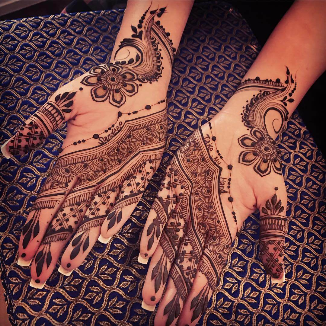 Simple Mehndi Design With Narrow Dotted Design For brides