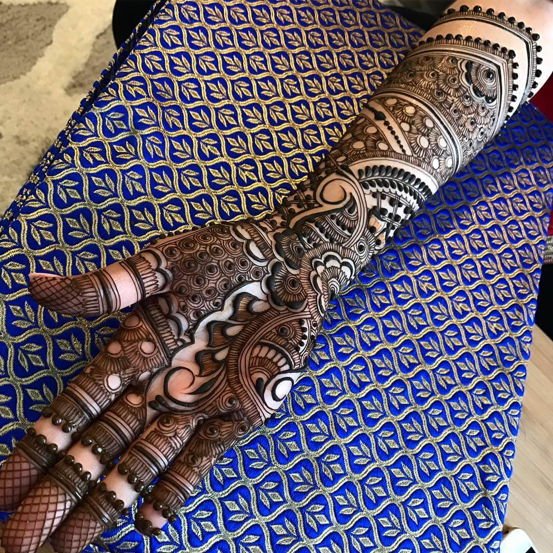 Full Hand Front Mehndi Design For Brides