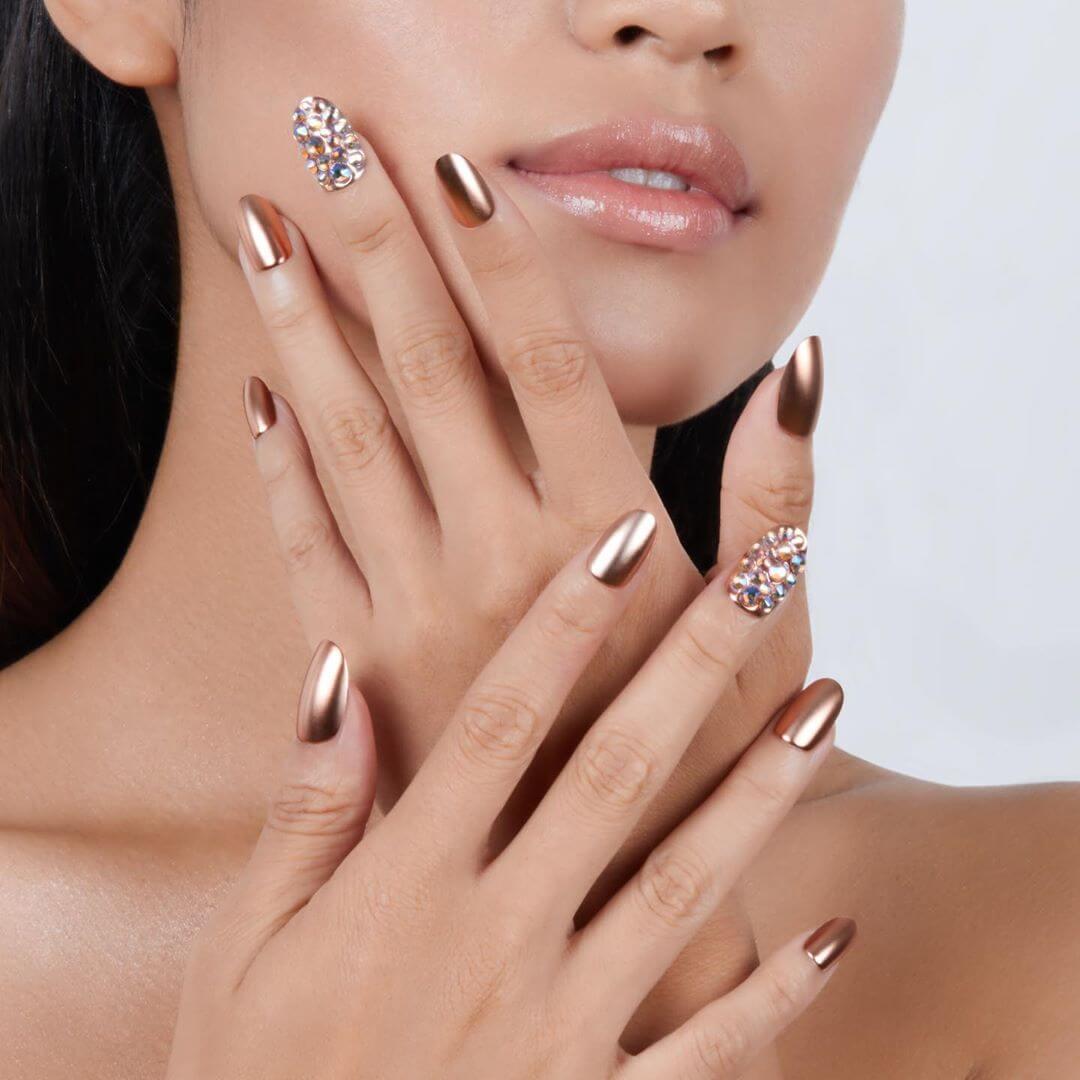 Gold Metallic Nail Art Designs