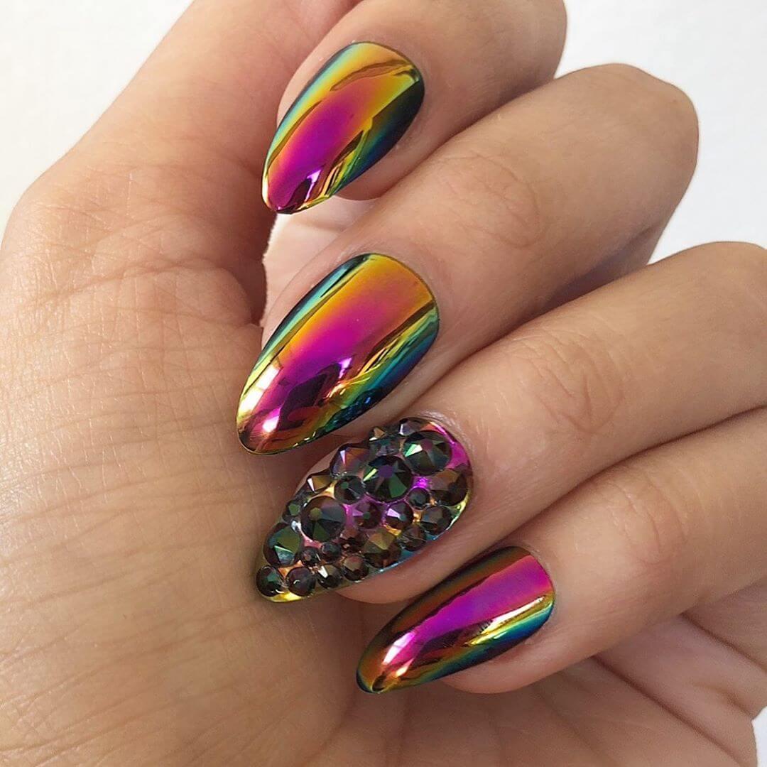 Glittery Multi Color Metallic Nail Art Designs