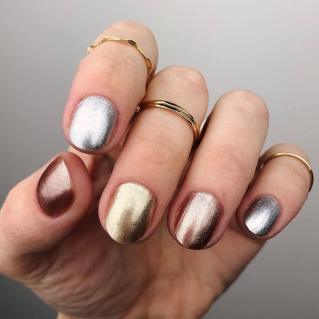 Multicolour Metallic Nail Art Designs