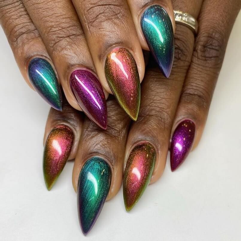 Galaxy Metallic Nail Art Designs