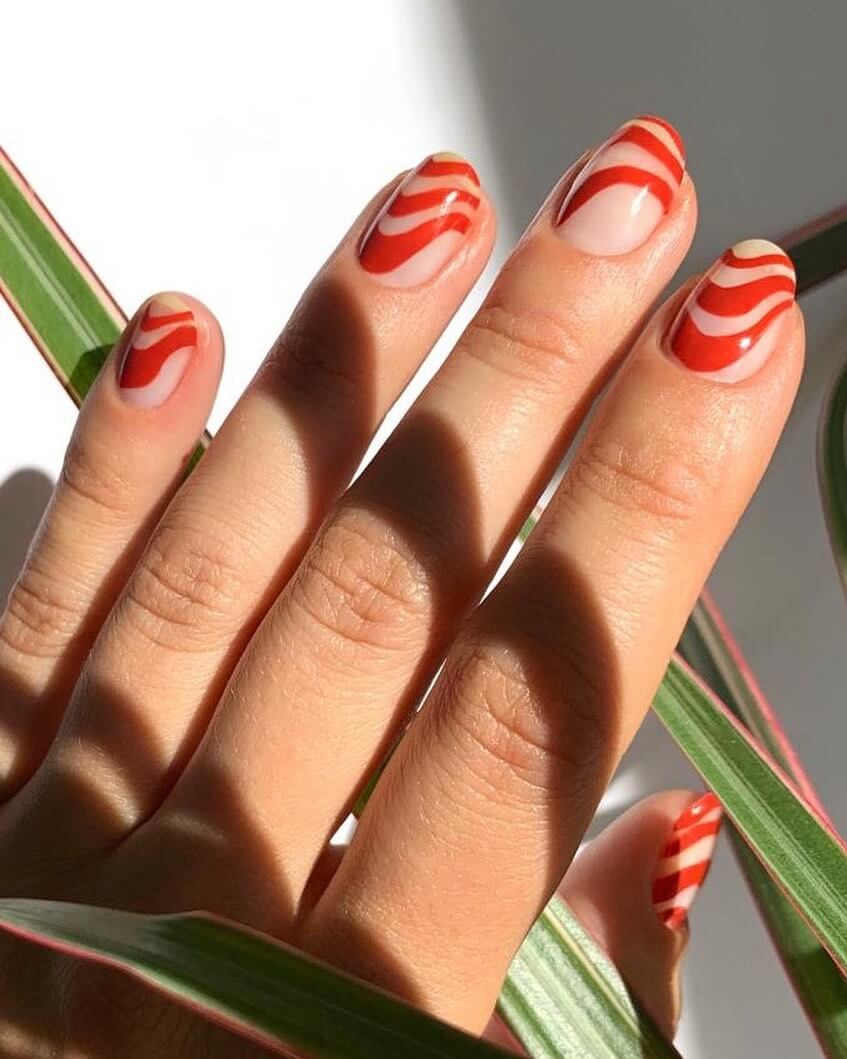 The Hypnotic Wavy Red Nail Art Designs