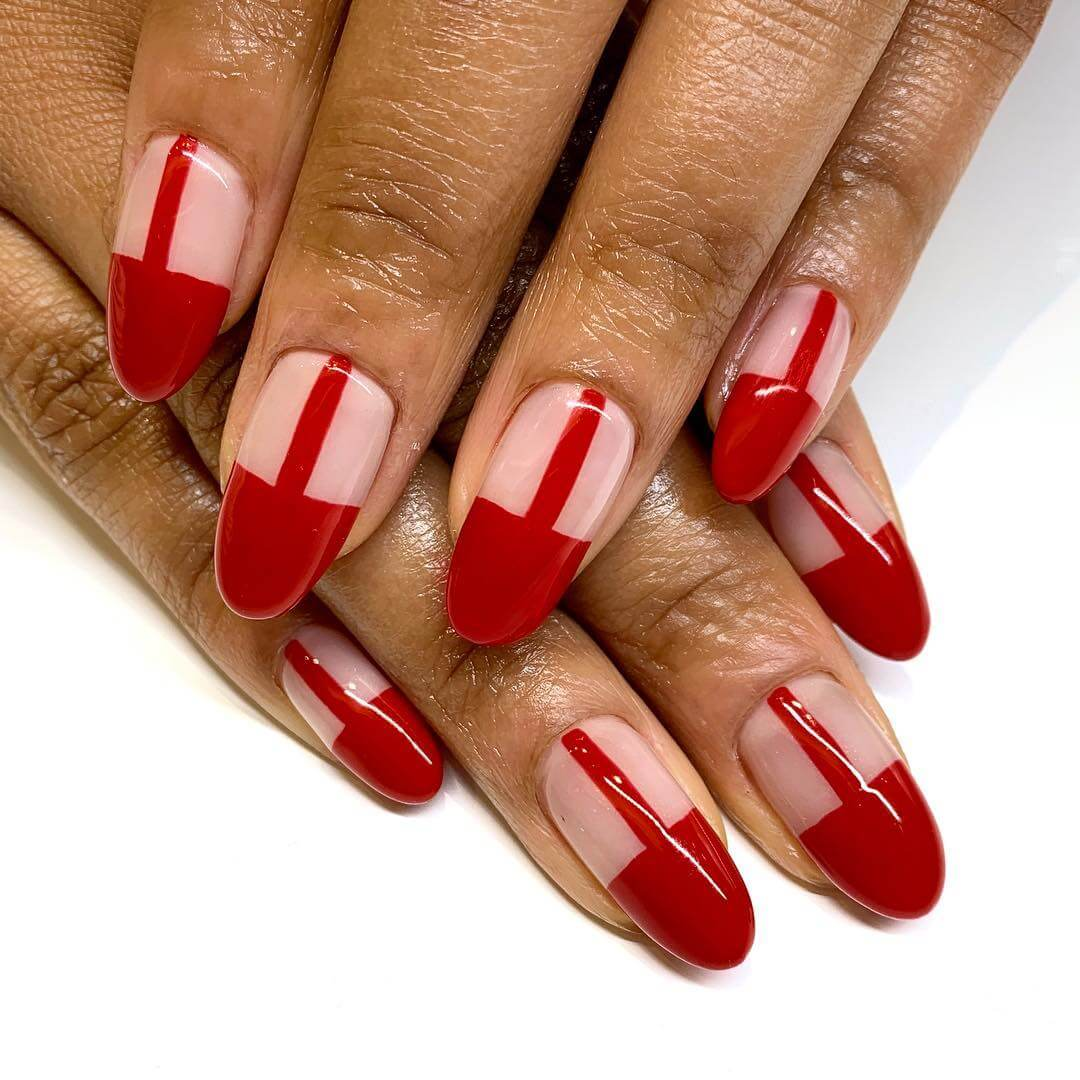 Chic Red -Nude Nail Art Designs