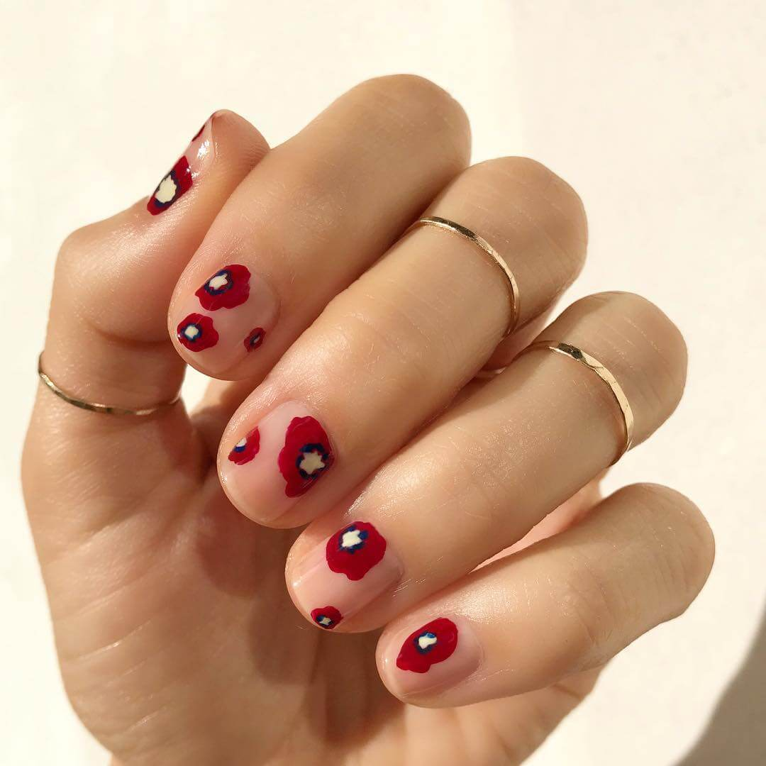 Aesthetic Floral Red Blooms Nail Art Design