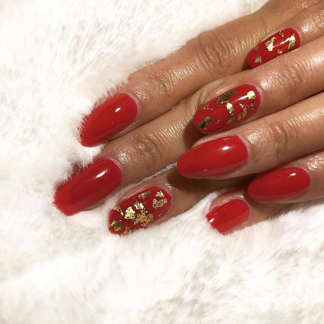 Gold Foil Red Nail Art Designs