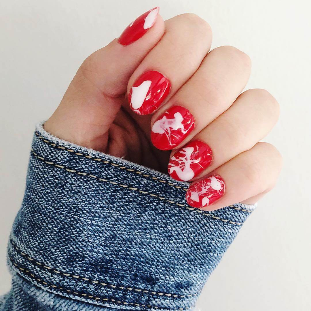 Wild Red and White Marble Nails