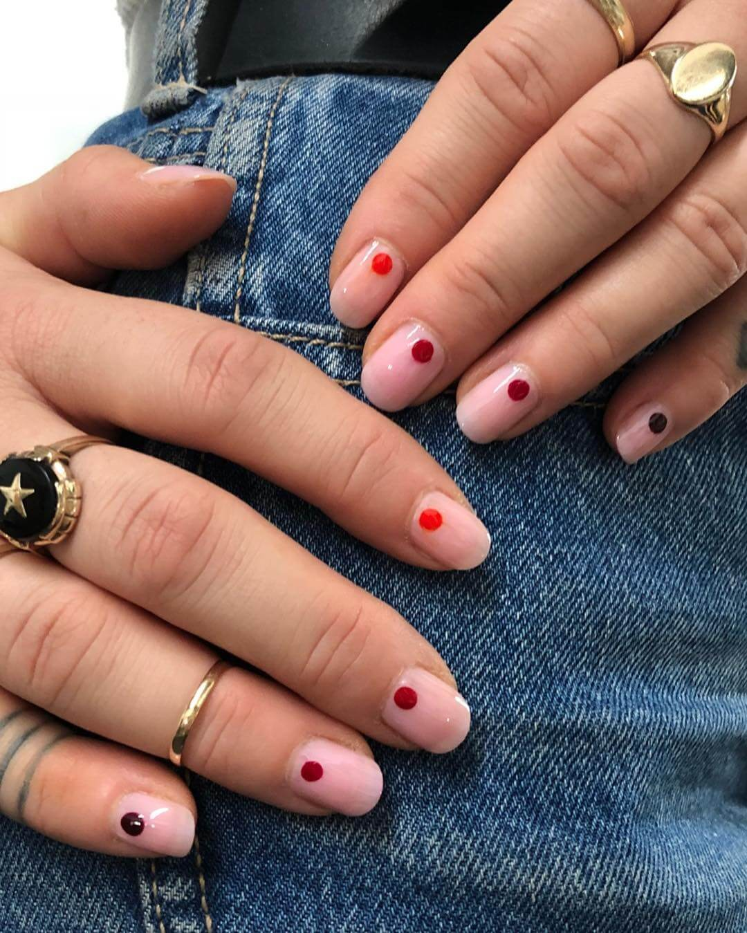 Gradient Red Dot Red Nail Art Designs - Step by Step