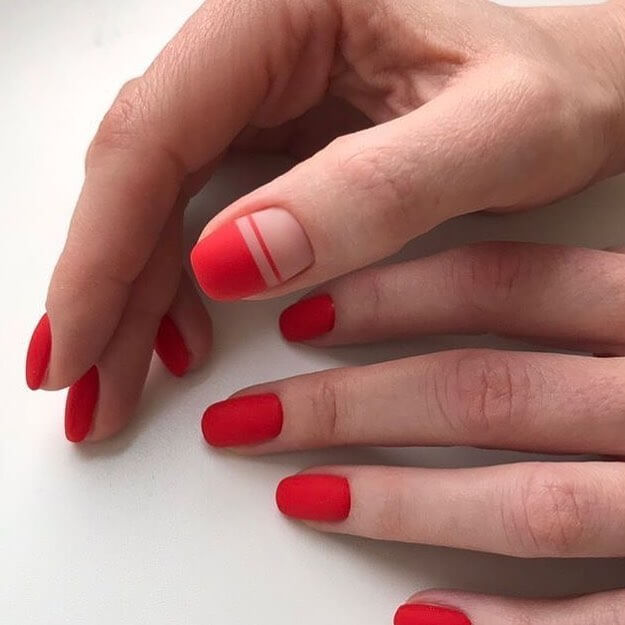 Matte Finish Red Nail Art Designs