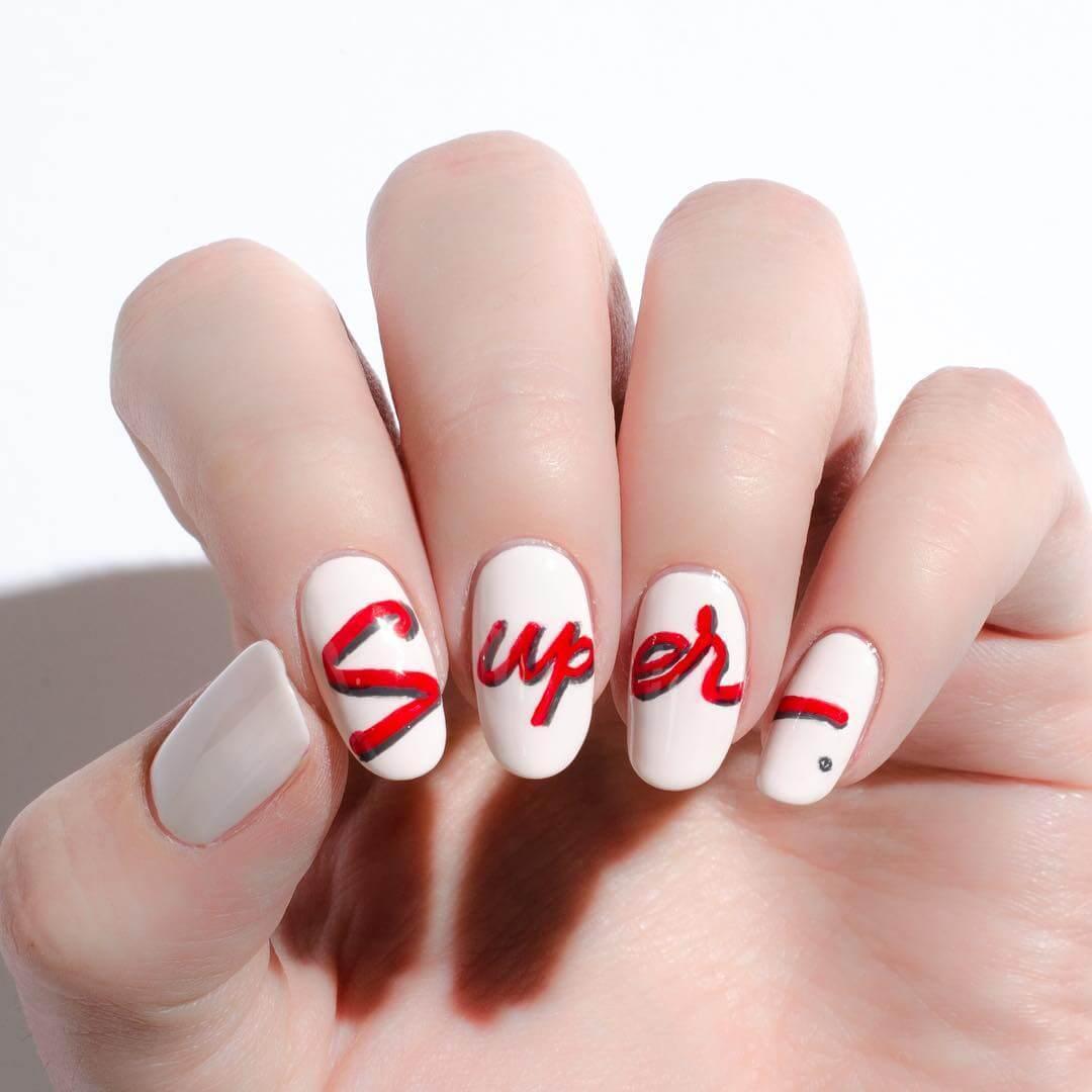 SUPER - Red and White Nail Art Design