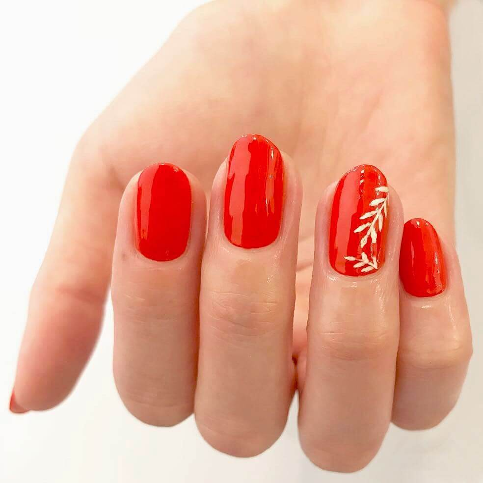 The Floral Bright Red Nail Art Design